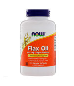 NOW FLAX OIL ORGANIC 1000 мг, 100 капс, Омега жиры