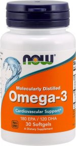 NOW Omega-3 1000 мг, 30 капс, Омега жиры